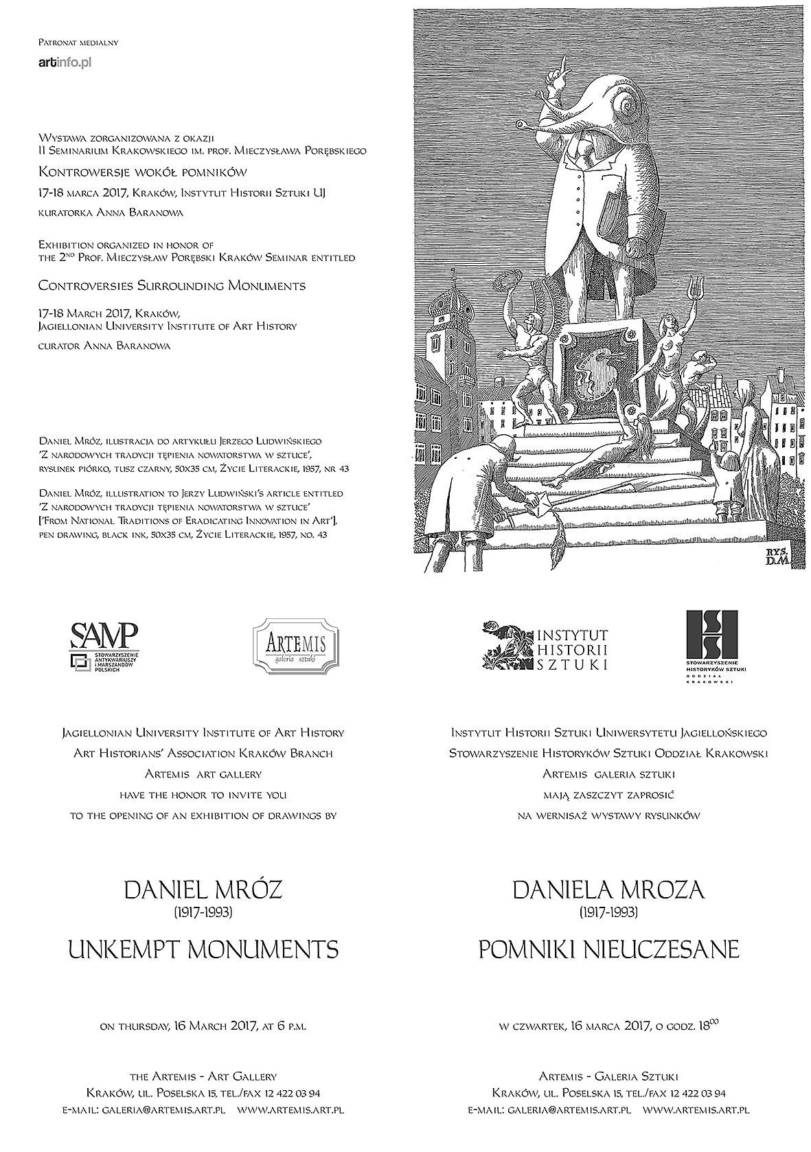 Pomniki nieuczesane Daniela Mroza_zaproszenie